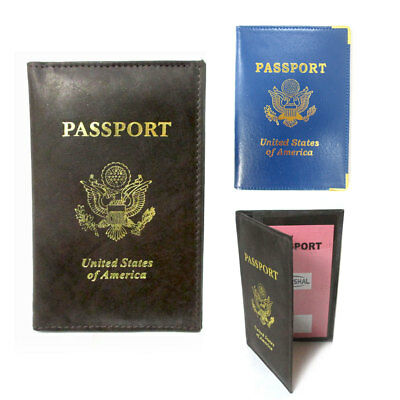 2 Genuine Leather Passport Cover Holders ID Wallet Case Travel  Blue Brown New !