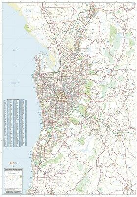 (LAMINATED) Super MAP Of Greater Adelaide Giant POSTER (100x140cm) Wall Chart Sa