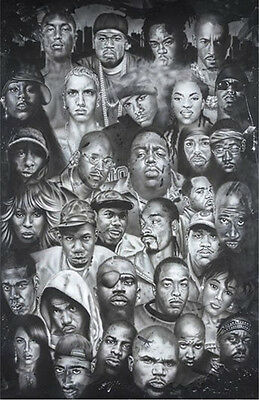 Eminem POSTER Hip Hop Faces Snoop Dre 2 Pac 50 Cent Notorious Slick Rick NEW