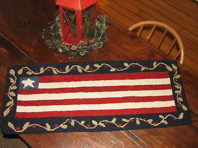 "Primitive Hooked Rug Pattern On Linen ~ ""old Glory Large"""