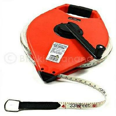 Surveyors Measuring Tape Measure Heavy Duty Long Open Reel 100M Fibreglass 26B