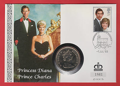 GREAT BRITAIN 25 NEW PENCE 1981 Coin Crown FIRST DAY COVER FDC WALES DIANA 25p