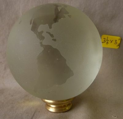 "Lamp Finial crystal glass etched globe brass  3 3/8""h x 3""dia (per each) (RA)"