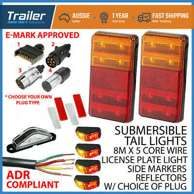 Trailer Tail Light Kit-Plug,Number Plate Lamp,5 Core Wire,Side Marker,Reflector