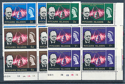 Pitcairn Islands 1966 Churchill Commemoration Sg53/56 Plate Blocks Of 4 Mnh