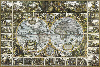 World MAP (LAMINATED) POSTER (61x91cm) Magna Carta Mundi New Licensed Art