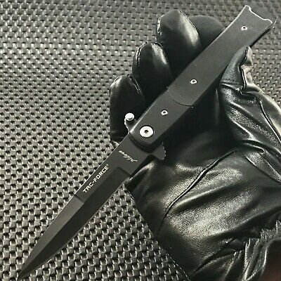 Tac Force Spring Assisted Stiletto Tactical Black Speedster Folding G-10