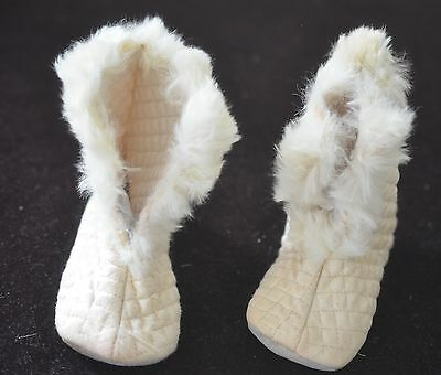 LUSCIOUS PAIR OF VINTAGE 1950's SILK AND RABBIT FUR BABY BOOTS  PP469