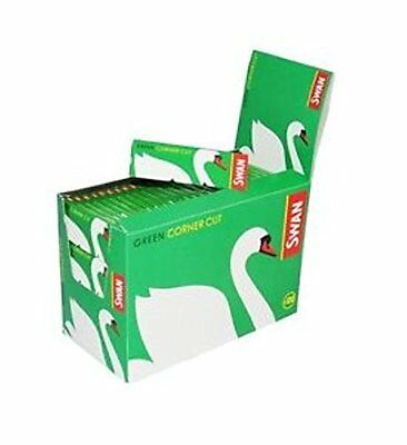 Swan Standard Size Green Corner Cut Cigarette Rolling Papers - 50 Booklets