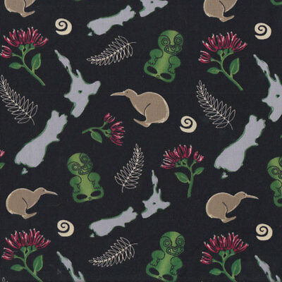 New Zealand Icons Tiki Fern Kiwi Map on Black Quilting Fabric FQ or Metre *New*