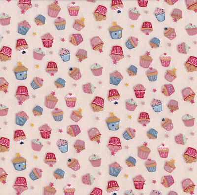 Cupcakes Tea Time Cup Cakes Food Baking Kitchen on Cream Quilt Fabric FQ or Metr