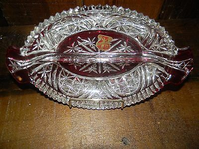 Antique Ruby Red  Maestro Glass Divided Relish Dish With Pure Silver Inlaid +Tag