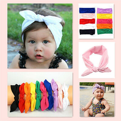 New Baby Toddler Cute Girl Kid Turban Knot Rabbit Headband Bow Hairband Headwear