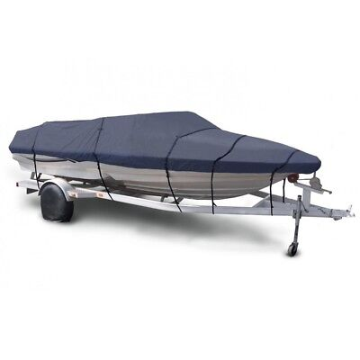 20' 21' 22' Trailerable Fish Ski Boat Cover 600D Waterproof Beam 100 V-Hull Blue
