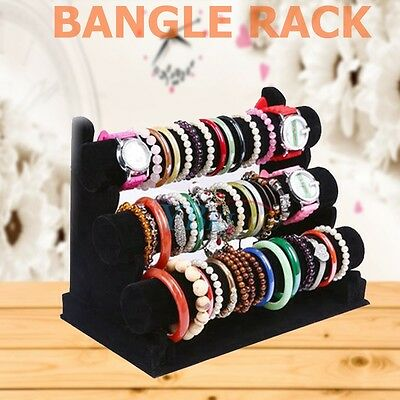Black Velvet 3 Tier Rack Bangle Watch Bracelet Holder Stand Jewellery Display