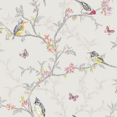 Holden Decor Dove Grey Multi Color Birds Trees Floral Butterfly Wallpaper