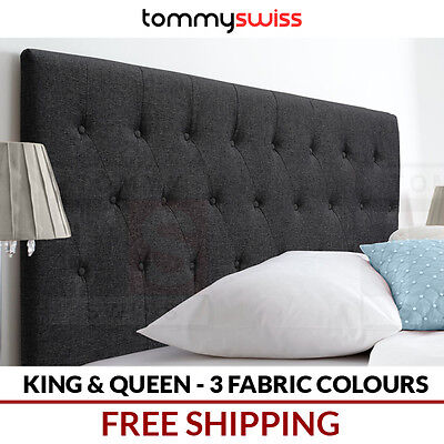 TOMMY SWISS: KING & QUEEN Fabric Upholstered Bedhead Headboard for Bed Frame