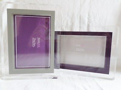 Clear Polished Acrylic Picture Photo Freestanding Frame 15 x 10 cm Plum or Grey