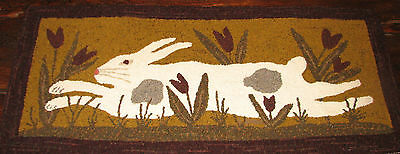 "Primitive Hooked Rug Pattern On Linen ~ ""through The Tulips"""