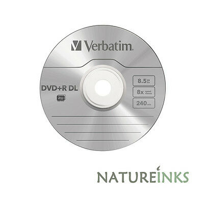 5 Verbatim Logo Dual Layer DVD+R 8x DL Double layer blank Discs 8.5GB 43667