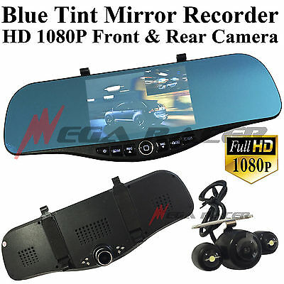 New Blue Tint 1080P HD Front/Back Up Camera Recorder Rearview Mirror #m17 Honda