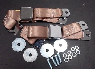 Vintage Chrome Retro Hot Rod Muscle Car Truck Tan Seat Belts 2 Sets W/hardware