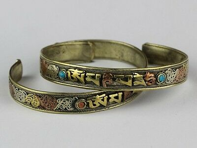 Tibetan 3-Color Copper Lotus Filigree Turquoise Red Coral OM Mani Cuff Bracelet