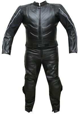2Pc Motorcycle 2 Pc Leather Racing Suit Armor Black