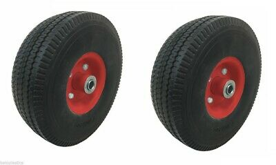2 x Central White Centre Trolley Sack Truck Wheel Puncture Proof 4.10/3.50 - 4