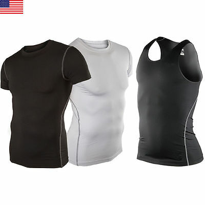 Mens Sports Under Compression Armour Baselayer Short Sleeve T-Shirt Athletic Top