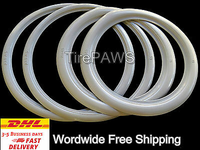 "ATLAS Front 15"" Slim Rear 16"" Wide Motorcycle White Wall tire insert trim set.."