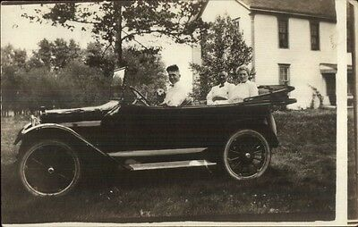 Early Car Auto Man Dog & Parents in Back c1910s Real Photo Postcard MAKE/MODEL?