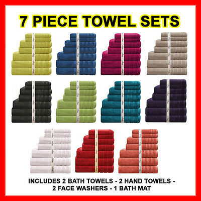 7 Pieces Egyptian Cotton Bath Towel Set Thick Soft 575GSM 11 COLOURS RRP $79.95