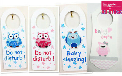 Baby Girl Pink Boy Blue Owl Door Hanger Do Not Disturb Baby Sleeping Wording