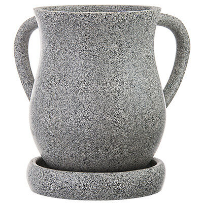 """Wash Cup Grey Poly & Resin With Tray 6.125"""" x 6.625"""", tray: 5.0"""""""
