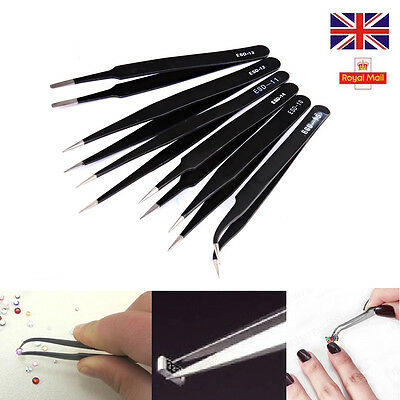 6 X Professional Coated Precision Tweezers Set Stainless Steel Non Magnetic