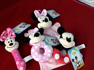 INFANT TOYS Disney Mickey or Minnie soft Baby rattles snugglies pink or primary