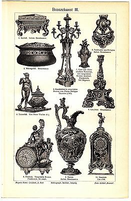 1890 ART OF BRONZE Fine Bronze products of 1800+ Antique Engraving PRINT