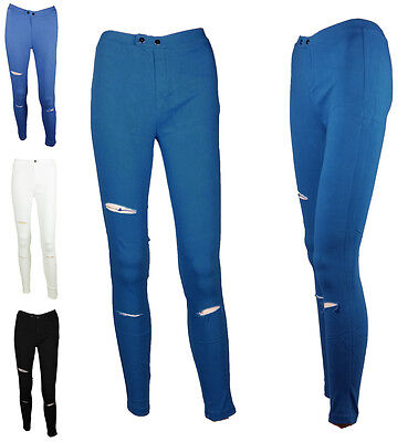 Ladies Ripped Skinny Fit Slim Jeans Trouser Stretch Pant Colour Legging Jeggings