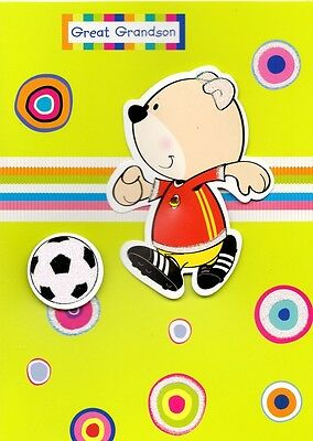 Cute Great Grandson Football Happy Birthday Card Second Nature