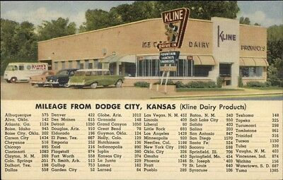 Dodge City KS Kline Dairy Drive-In ICE CREAM Old Cars LINEN Postcard