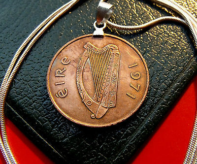 "IRISH PRIDE 1971 Bronze CELTIC HARP PENNY Pendant on a 30"" 925 Silver Chain"
