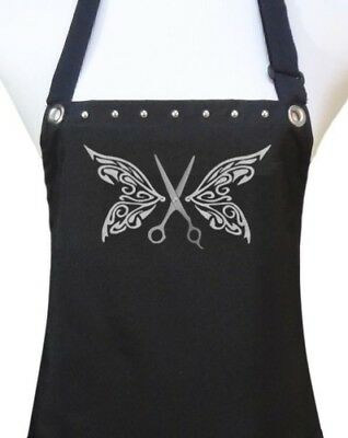 "Hair Stylist Apron ""BUTTERFLY SCISSORS"" waterproof salon hairdresser black new"