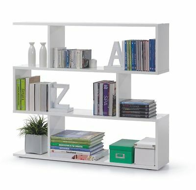 Ciara Living Room 3 Tier Bookcase Room Divider Display Shelf Unit White Gloss