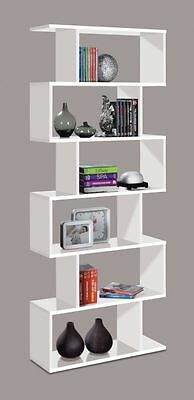 Ciara Living Room 6 Tier Bookcase Room Divider Display Shelf Unit White Gloss