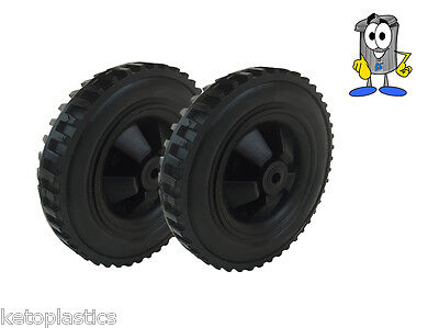 Pair Of Black Fishing Trolly / Sack Truck Wheels 146Mm Wide - 10Mm Bore Hole