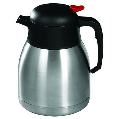 Winco CF-1.2, 1.2-Liter Stainless Steel Body and Liner Carafe with Push Button T