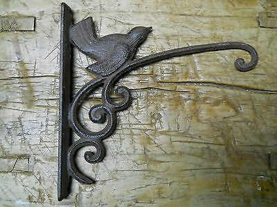 Cast Iron BLUE BIRD Garden Plant Hook Rustic BROWN Finish