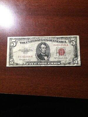 1953-C Circulated Five Dollar Note Red Seal