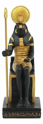 Sitting Falcon God Horus Ra on Throne Ancient Egyptian Sculpture Summit Figurine